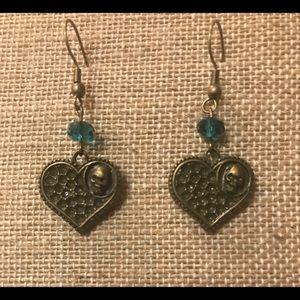 Handmade Heart Skull Earrings